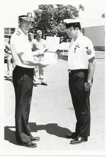 Receiving one of 8 medals in the Navy - Hawaii, 1980