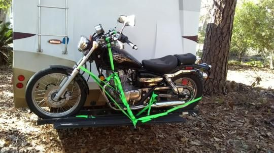 Motorcycle on RV back carrier