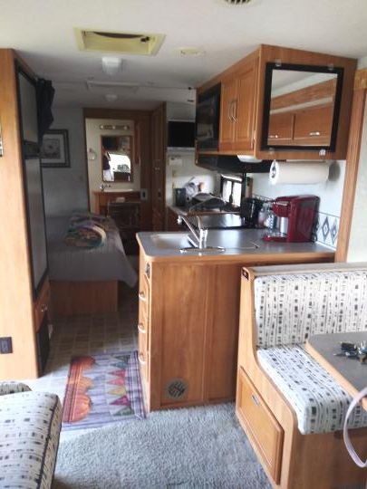 RV view aft from Dinette and couch forward, with bathroom in the rear