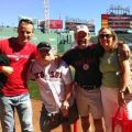 This is all of us at Fenway park in Boston Massachusetts for my last year birthday gift from my parents and where on the side line on the field